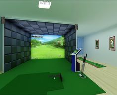 golf simulator placement idea putting behind - Simulation Room Design