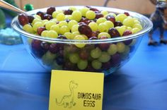 "Dinosaur party ideas:  healthy grape dinosaur ""eggs"""