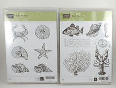 NEW Stampin Up BY THE SEASHORE & BY THE TIDE Retired Stamp Set Beach Ocean Fish #StampinUp
