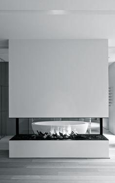 Fireplace In Bathroom. Vincent King · Minimalist Loft Design Ideas