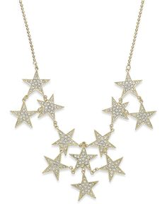 Bar III Gold-Tone Pavé Stars Statement Necklace - Jewelry & Watches - Macy's
