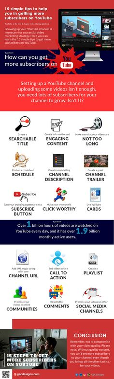How to Get More Subscribers on YouTube | 15 Simple tips to Follow Youtube Search, Call To Action, Social Media Channels, You Youtube, Infographics, Digital Marketing, Success, How To Get