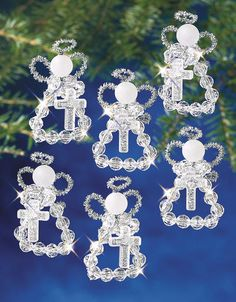 Bead Kits - Holiday Beaded Ornament Kit - Holy Angels Makes 6 Beaded Christmas Ornaments, Angel Ornaments, Handmade Ornaments, Christmas Decorations To Make, Christmas Angels, Holiday Crafts, Beaded Angels, Angel Crafts, Bead Kits
