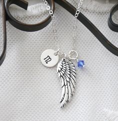 Memorial Necklace, Personalized Angel Wing Necklace, Remembrance Gift, Angel Wing Necklace, Guardian Angel Necklace, Angel Wing Initial Gift