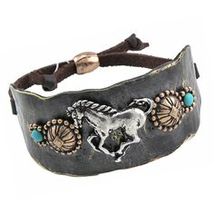 South Western Turquoise Leather Copper Horse Cuff Braclet