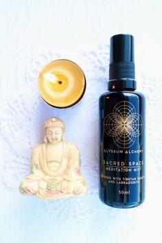 Sacred Space Meditation Mist - Organic Body and room spray meditation or yoga labradorite and tibetan quartz infused on full moon