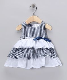 Navy Ruffle Dress - Infant ~$9.99 by 'Garden Party'