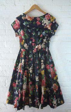 SALE Vintage Floral Dress 80s Navy Blue Cotton Garden Party