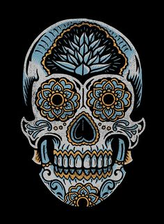 by Derrick Castle Sugar Skull Design, Sugar Skull Art, Sugar Skulls, Sugar Skull Painting, Mexican Skulls, Mexican Art, Caveira Mexicana Tattoo, Skull Artwork, Skull Drawings