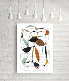 Fishing net mid century modern art cubist wall decor por FLATOWL