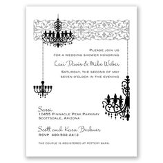 Chandelier - Black - Shower Invitation - Invitations by David's Bridal