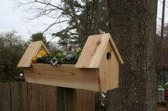 Cedar double bird house planter - Nothing symbolizes the onset of spring more than flowers and birds. As soon as we see those first blooms in March and hear the chirping outside of our windows, we know warm weather is on the way.