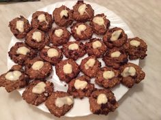 Chocolate-peanut cookies, this time with white icing.