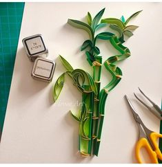 3 stalks of lucky – represents happiness. Wishing you and a lifetime of 🎋 💕 . Origami And Quilling, Paper Quilling Designs, Quilling Paper Craft, Quilling Cards, Origami Flowers, Origami Paper, Diy Paper, Paper Crafts, Quilling Ideas