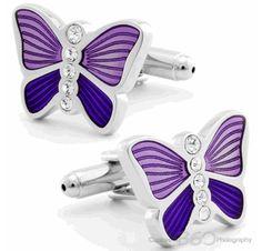 Light Violet Butterfly Cufflinks
