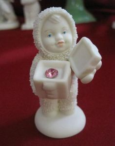 "Dept. 56 SNOWBABIES Christmas ""A GIFT FOR YOU"" Pink Birthstone ~ New Free Shipping $19.99"
