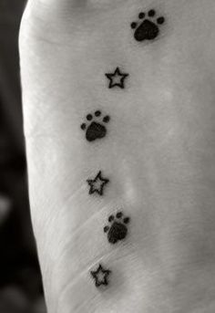 Tattoo I had done on the 1st year anniversary of my first goldens passing. I have a paw print for each of my 3 goldens and, a star to represent the ones I have picked out in the Big Dipper for each of them. The upside down heart of the paw prints is to represent the love we share. I also had the tattoo done on my left foot for just as in life, even when gone, my dogs will always continue to walk alongside me.  on popularpin.com