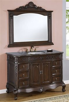 Item# 4148 - Single Sink Bathroom Vanity Cabinet with Premium Natural Stone Solid Slab Cream Marble Top, Beveled/OG Edges, Two Doors with Shelf, Six Drawers with Top Drawer Felted (L & R), and White Undermount Sink. Linen Cabinets, Bath Cabinets, Bathroom Vanity Cabinets, Bathroom Furniture, Bathroom Vanities, Bathroom Ideas, Complete Bathrooms, Dream Bathrooms, Single Sink Bathroom Vanity