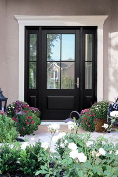 Finally revealing my Front Door Reveal with Andersen Windows and Doors. My front door is a DREAM and I am thrilled to share it completely finished. Black Exterior Doors, Black Front Doors, Exterior House Colors, Black Door, Painted Exterior Doors, Exterior Entry Doors, Blue Doors, Front Door Paint Colors, Painted Front Doors