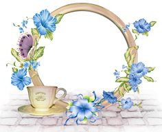 Cute Round PNG-Photo Frame with Blue Flowers