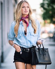Crop tops ideas for crop top outfits summer outfits travel outfits 2019 spring outfits Crop Top Outfits, Casual Outfits, Denim Outfits, Outfits With Bandanas, Denim Fashion, Fashion Outfits, Fashion Trends, Travel Outfits, Style Fashion