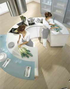 Maybe as a backyard kitchen area... Modern rounded kitchen design by Pedini