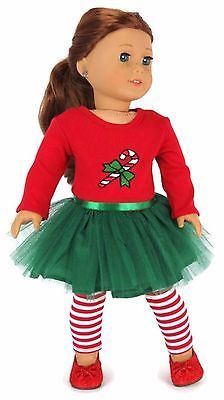 Candy Cane Tutu Dress & Striped Leggings doll clothes for the american girl doll American Girl Outfits, Ropa American Girl, American Girl Doll Costumes, My American Girl Doll, American Doll Clothes, Sewing Doll Clothes, Girl Doll Clothes, Girl Dolls, Ag Dolls