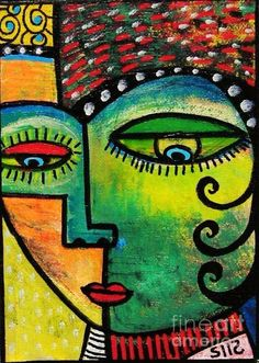 Modern Cubist Art,  Mexican Angel ! I like the bright colors and the expression...