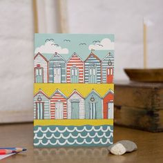 Beach Huts Blank Greetings Card by Jessica Hogarth, the perfect gift for Explore more unique gifts in our curated marketplace. Beach Huts Art, Beach Art, Zentangle, Housewarming Card, Birds In The Sky, Nautical Cards, Pottery Painting, Paper Goods, Making Ideas