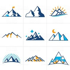 Mountain and line drawing symbol and icon collection. Mountain Illustration, Simple Illustration, Free Illustrations, Tape Art, Mountain Drawing Simple, Kunst Tattoos, Geometric Mountain, Geometric Drawing, Icon Collection