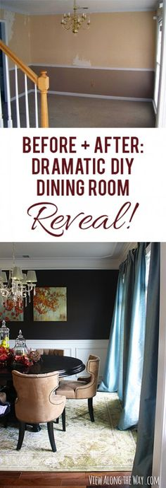 Beautiful dramatic dining room with deep walls and picture molding. Completely DIYed! Lots of other befores-and-afters at this link too! #decorate