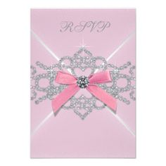 Pink Diamonds Pink Sweet 16 Birthday Party RSVP Invite