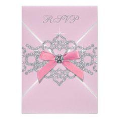 Pink Diamonds Pink Sweet 16 Birthday Party RSVP Invite