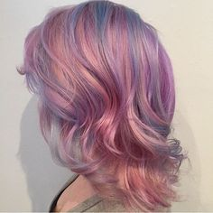 pastel pink hair with blue highlights