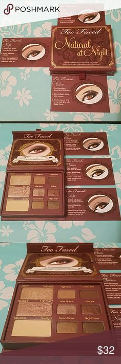Natural At Night Palette! How do you sex up your natural look for night time you ask when you look in the mirror??!!! Too Faced has the Answer with this Palette. 9 beautiful dark/light shimmer/matte colors to give that Alluring look and Spice up your night!! 3 shadows are 2G 6 shadows are .9G. *price may be negotiable for shipping purpose,Bundle for discounts.* Too Faced Makeup