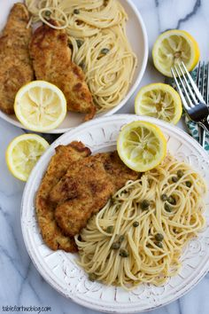 Easy 30 minute chicken piccata from www.tablefortwoblog.com >> I made this dish tonight and it was amazing. Too much lemon in the pasta tough. I also didn't add the Capers. Chicken was so good.