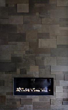 Suzie: Michael Abrams Limited - Sleek gray modern fireplace with slate tiles.---we could do this for the backsplash.it& be a lot of cutting, but totally worth it. Contemporary Family Rooms, Contemporary Stairs, Contemporary Cottage, Contemporary Apartment, Contemporary Wallpaper, Contemporary Bathrooms, Contemporary Architecture, Contemporary Interior, Contemporary Chandelier