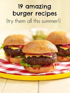 19 recetas de hamburguesa, ¡para probarlas todas este verano! / 19 of our best-ever burger recipes! - Definitely trying it this summer!