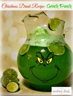 Here's a  super cute Christmas drink recipe that adults and kids alike will love! Check out this Grinch Punch recipe! With only 3 ingredients, you can quickly and easily whip up this fun drink for the whole family without adding any stress to your holiday preparations. The kids will absolutely love this. Get the movie playing, pop some popcorn, make some Grinch Punch and start a new holiday tradition!