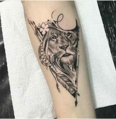 That tattoo is amazing! Need some ideas for animal tattoos? Check out our other stunning animal tattoo posts now. Leo Tattoos, Forearm Tattoos, Future Tattoos, Body Art Tattoos, Sleeve Tattoos, Tatoos, Lion Arm Tattoo, Lioness Tattoo, Mandala Lion Tattoo