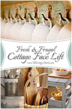 Fresh and frugal cottage face lifts! Fast and easy little ways to perk up the kitchen ...the cottage way! : )