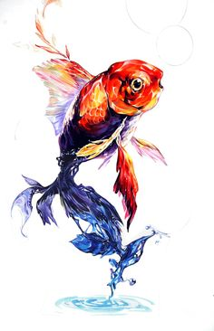 물꼬기 시범 꽥. Watercolor Fish, Watercolor Pictures, Watercolor Paintings, Animal Drawings, Art Drawings, Hippie Art, Fish Art, Environmental Art, Illustrations And Posters