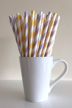 Yellow and Light Purple Striped Paper Straws Mint and Lavender Lilac Party Supplies Party Decor Bar Cart Accessories Cake Pop Sticks