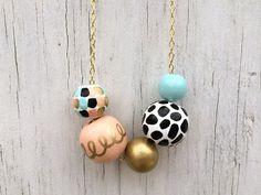 No. 15 // Hand Painted Wooden Bead Necklace by shoplulapearl