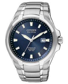 Citizen Watch, Men's Eco-Drive Silver Tone Titanium Bracelet 42mm BM7170-53L - Men's Watches - Jewelry & Watches - Macy's