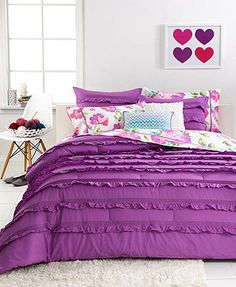 Seventeen Bedding Eva Eyelet Purple 3 Piece Comforter Sets All eyes are on these fun Eva Eyelet Purple Comforter Sets, featuring rows of pleated and eyelet details for a flirty, feminine feel. From Seventeen. Set includes comforter and one or two shams Colors: solid purple textured ground Select specific item for details