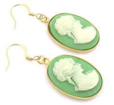 Vintage Green and Gold Cameo Earrings