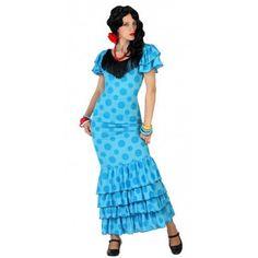 Dames outfit blauwe Flamenco jurk