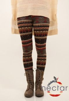 super soft fair isle knit leggings that are stretchy and comfortable. features a very fall/ wintery print that makes you feel warm and cozy. a stripped design with added native American and woodsy inspired designs. perfect for going out on a fall day, casually lounging, or escaping to the woods for a weekend. Nectar Clothing made in the USA