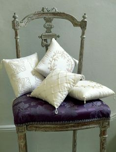French Decor (purple lavender chair silver leaf pillows french gray)